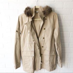 CAbi Faux Fur Cream Hooded Coat S